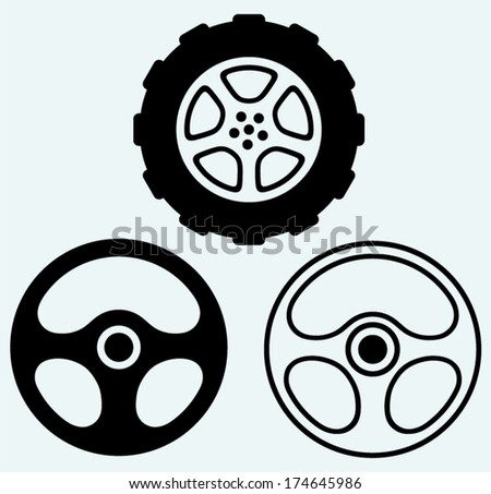 Steering and car wheel. Image isolated on blue background - stock vector
