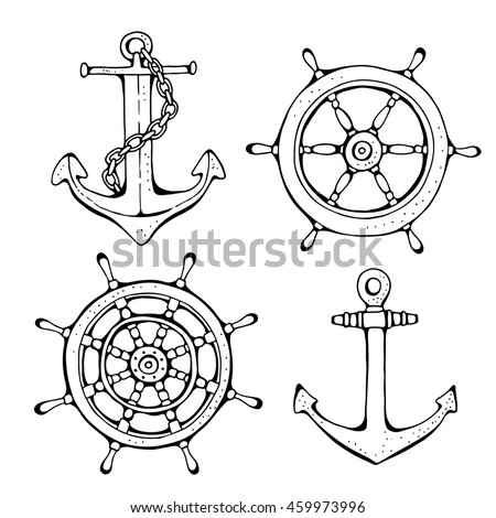 Steering ship wheel and anchor, vector illustration on white background