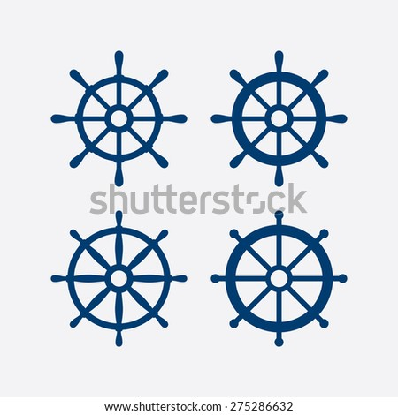 Steering wheel icons set - Ship wheels - Nautical symbols. Vector illustration - stock vector