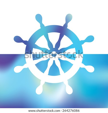 steering wheel rudder - ship steering - stock vector
