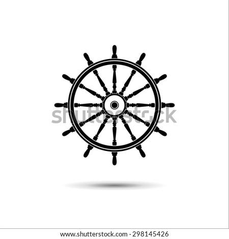 steering wheel. simple icon. - stock vector