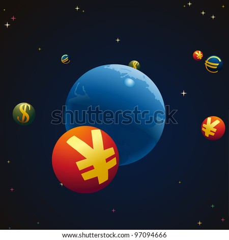 Stellar sky with Earth and symbols of Euro, Yuan and US Dollar around - stock vector