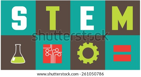 STEM icons flat design. EPS10 vector illustration for advertising, promotion, poster, flier, blog, article, social media, marketing, education - stock vector