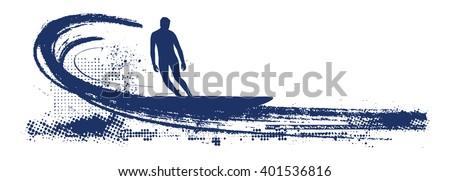 stencil blue surf scene - stock vector