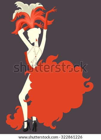 Stencil Illustration of a Cabaret Performer Striking a Pose - stock vector