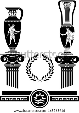 stencil of ancient columns and jugs. vector illustration - stock vector