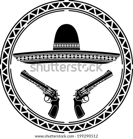 stencil of mexican sombrero and two pistols. first variant. stencil. vector illustration - stock vector