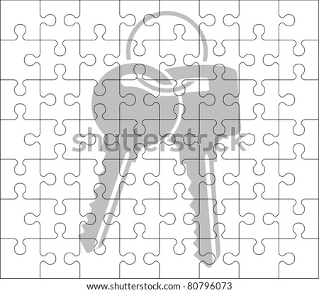 stencil of puzzle pieces and keys. stencil. vector illustration