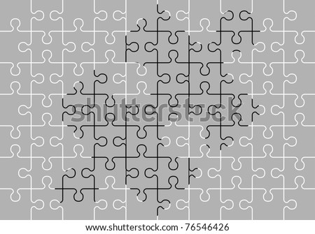 stencil of puzzle pieces. third variant. vector illustration