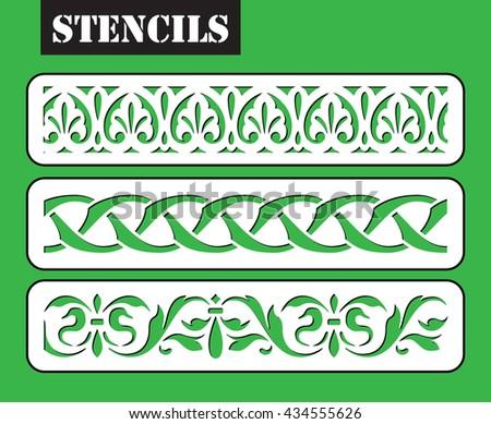 Stencil pattern. Three ornamental border, clip art optimized for cutting on plotter. Template for decor. Laser cut wall art decor. - stock vector