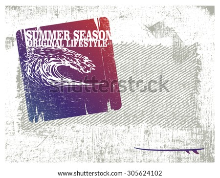 stencil surf frame with pipeline wave - stock vector