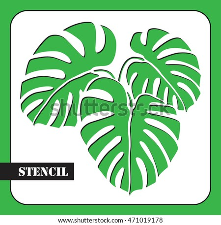 Three Vector Tropical Palm Leaves Monstera Laser Cut Template Pattern For
