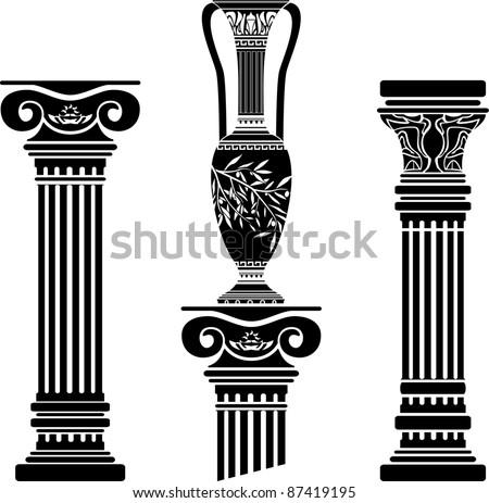 stencils of columns and hellenic jug. fourth variant. vector illustration - stock vector