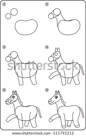 Step By Step Drawing Horse. Easy To Drawing Horse For Children