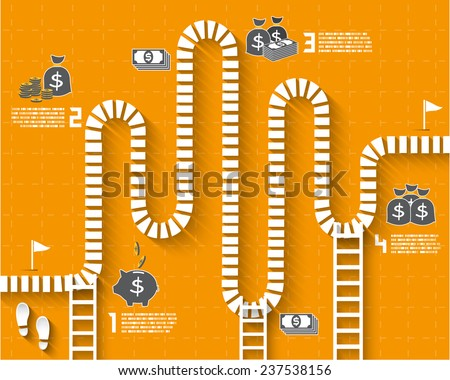 Step by Step Infographics pathway with money and coin icon, Vector EPS10 - stock vector