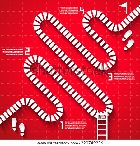 Step by Step Infographics pathway with Numbers, Vector EPS10 - stock vector