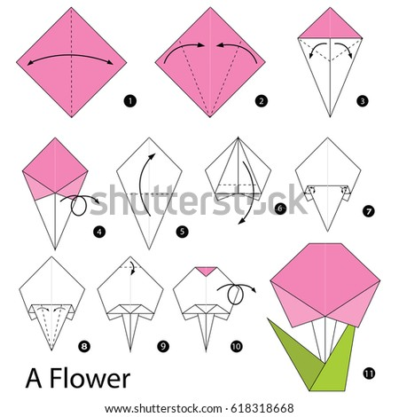 Step by step instructions how make stock vector 618318668 shutterstock step by step instructions how to make origami a flower mightylinksfo