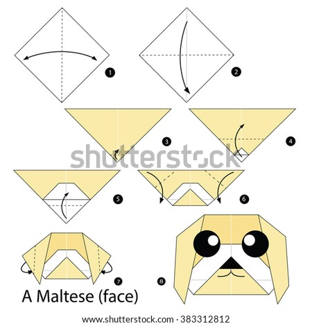 how to make a paper dog face step by step