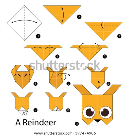 Step by step instructions how to make origami A Reindeer. - stock vector