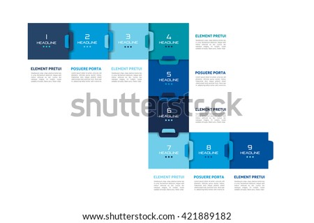 Step by step template, chart, diagram, scheme, infographic. Vector tutorial. - stock vector