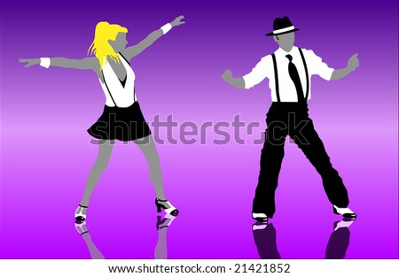 step dancers - stock vector