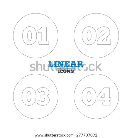 Step one, two, three and four icons. Sequence of options symbols. Loading process signs. Linear outline web icons. Vector - stock vector