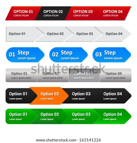 Step panel - website element - 6 versions for you - steps - 3-4 options - stock vector