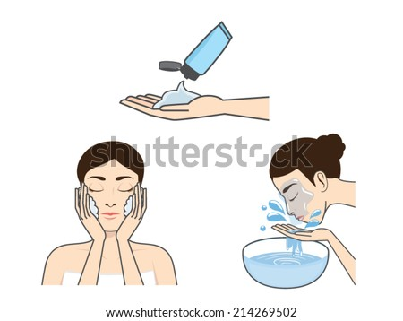 Step washing face of beauty women version cartoon - stock vector