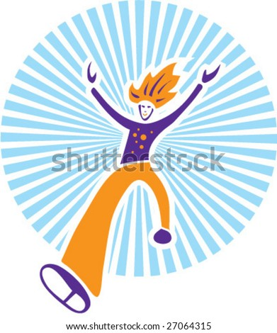 stepping person - stock vector