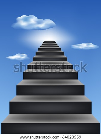 Steps leaders in the blue sky - stock vector