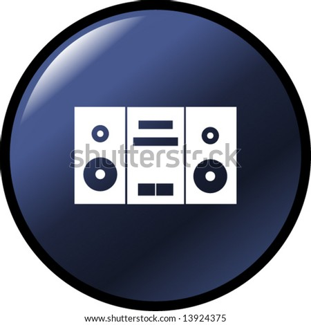 stereo audio player button - stock vector