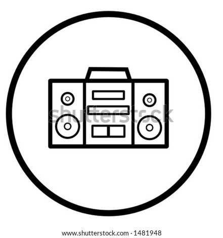 stereo audio player symbol - stock vector