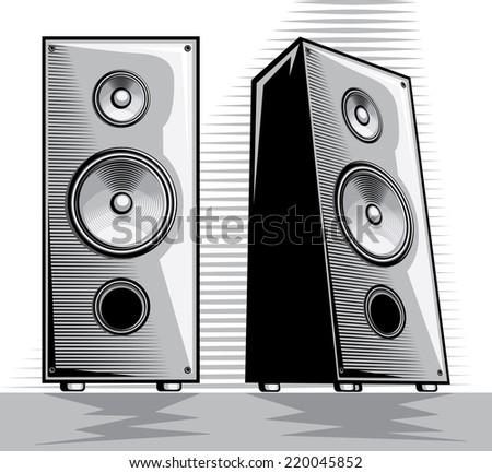 Stereo loudspeakers - stock vector