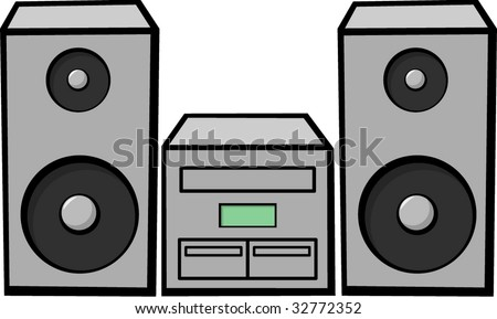 stereo music system - stock vector