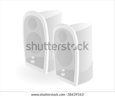 Stereo speaker on white background