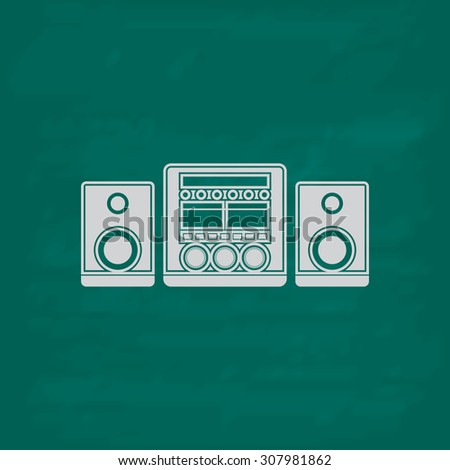 Stereo system. Icon. Imitation draw with white chalk on green chalkboard. Flat Pictogram and School board background. Vector illustration symbol - stock vector
