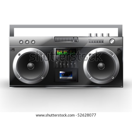 Stereo system. Vector illustration of a  music center. Boombox - stock vector