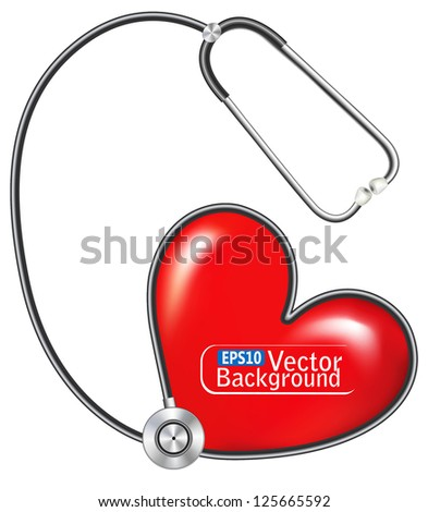 stethoscope measuring heartbeat. vector - stock vector