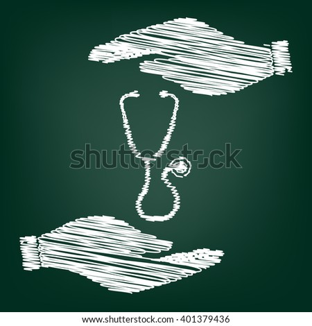 Stethoscope sign scrible effect  - stock vector