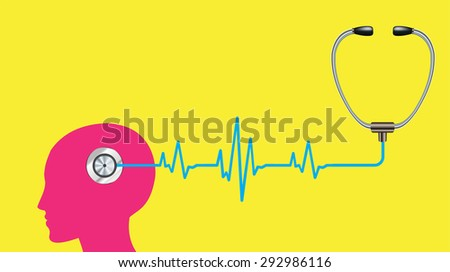 stethoscope. vector pink brain processes technology, creative idea concept. wave. healtcare  - stock vector