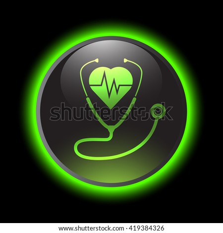 Stethoscope with Heartbeat vector icon - stock vector