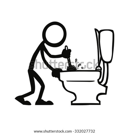 Stick Figure Cleaning Toilet
