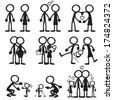 Stick Figure Family Love - stock