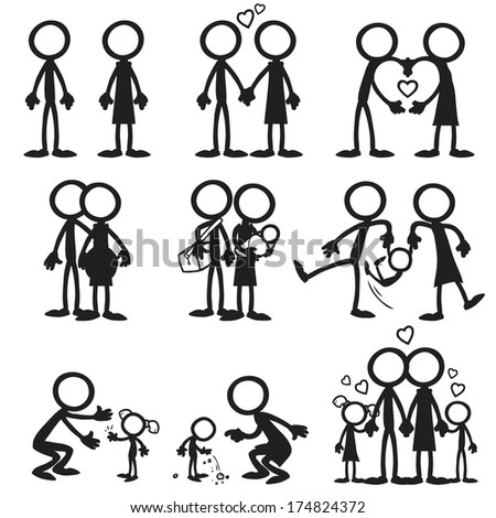 Stick Figure Family Love - stock vector