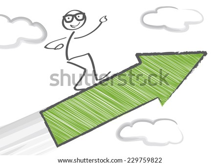 Stick Figure flying with arrow - stock vector