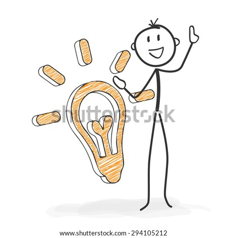 Stick Figure in Action - Stickman Has an Idea. Symbolic Light Bulb Icon. Stick Man Vector Drawing with White Background and Transparent, Abstract Three Colored Shadow on the Ground. - stock vector