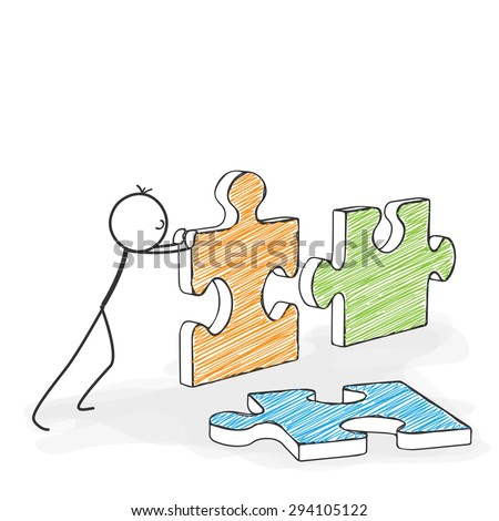 Stick Figure in Action - Stickman Pushes Puzzle Icons Together. Stick Man Vector Drawing with White Background and Transparent, Abstract Three Colored Shadow on the Ground. - stock vector