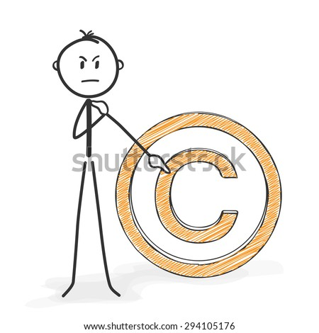 Stick Figure in Action - Stickman Shows Copyright Sign - Icon. Stick Man Vector Drawing with White Background and Transparent, Abstract Three Colored Shadow on the Ground. - stock vector