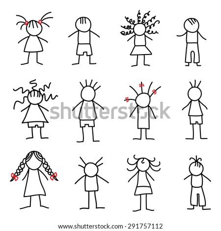 Stick figure little children - stock vector