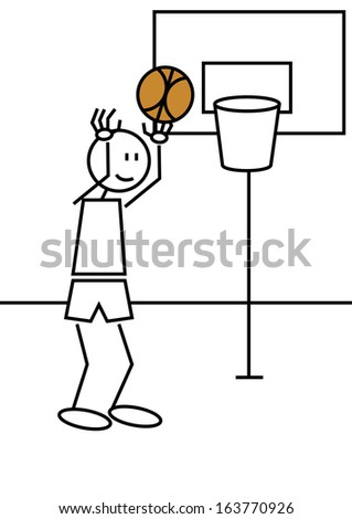Stick figure of a boy playing basketball. Sports and leisure concept - stock vector